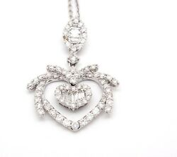 Chic 14k White Gold Si1-si2 G-h 1.20tcw Double Heart Diamond Dangle Necklace