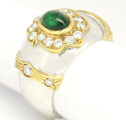 Vintage 18k Two-tone Gold 1.41tcw Emerald W/ Diamonds Wide Band Ring Size 6.5