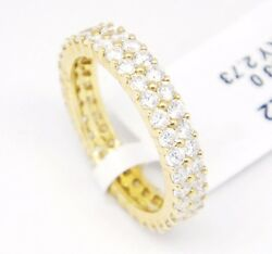 14k Yellow Gold Vs2f-g1.93ct Round Pave Diamonds Double Row Eternity Band 6.5