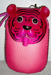 Keychain Coin-Purse Wristlet Phone Holder 3D Lion Face Leather- 2