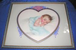 Vtg 1940and039s Framed Under Glass Baby Picture Print Charlotte Becker Land O Dreams