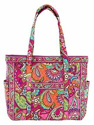 VERA BRADLEY~GET CARRIED AWAY LARGE TOTE BAG~PINK SWIRLS~BEACH~CARRY-ON~BNWT!
