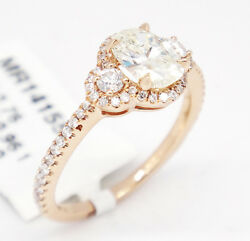 14k Pink Gold Si1/k 1.36ct,three Stone Diamond W/ Accents Engagement Ring,6.5
