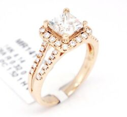 14k Pink Gold Vs2/h 1.84ct Solitaire Halo Diamond W/ Accents Engagement Ring6.5