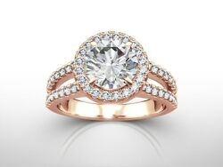 1.50 Ct Round Cut D/si2 Halo Diamond Solitaire Engagement Ring 14k Rose Gold