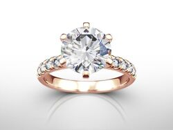 2.50 CT ROUND CUT HSI2 PAVE DIAMOND  SOLITAIRE ENGAGEMENT RING 14K ROSE GOLD