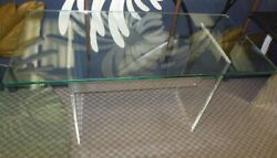 Mid Century Mod 70and039s Glass Lucite Aluminum Console Desk Table Hollywood Glam