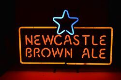 Nice Newcastle New Castle Brown Ale Neon Pub Beer Light Real Glass Tube Working