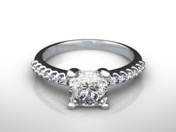 1.30 Ct Radiant Cut F/vs2 Diamond Solitaire Engagement Ring 14k White Gold
