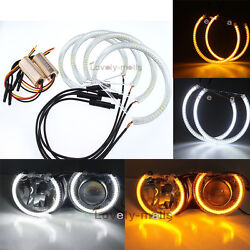 4x Dual Color White Yellow SMD LED Halo Ring For E53 X5 1999-2004 Angel Eyes DRL