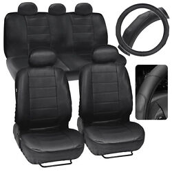Black Synth Leather Seat Covers For Car + Stitched Grip Steering Wheel Cover