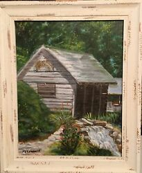 Landscape Michigan Corn Crib Artchickgail Oil Orig. Daily Painting Framed 11x14