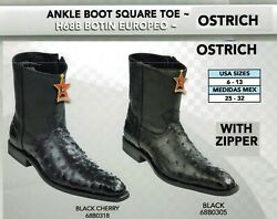 Los Altos Menand039s Square Toe Genuine Ostrich Zip Up Ankle Boots