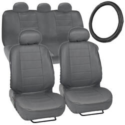 Car Seat Covers + Steering Wheel Cover Comfy Faux Leather Gray Grey