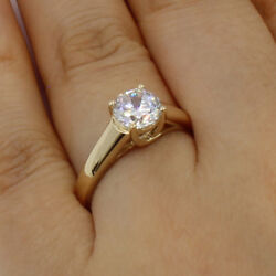 1.00 Ct 14k Real Yellow Gold Round Trellis Set 4 Prong Solitaire Engagement Ring