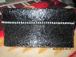 Hand Beaded Clutch Purse or Eyeglass Case..BlackSilvery..ORIGINAL DESIGN!