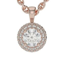 1.00 Ct G Si1 Round Halo 14k White Gold Solitaire Pendant Necklace + 16 Chain