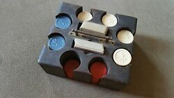 Vintage Set Cowboy On Horse Clay Poker Chips And Antique Case Rare