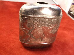 Very Old Antique Quadplated Silver Plated Engraved Flask Sept 15 1892