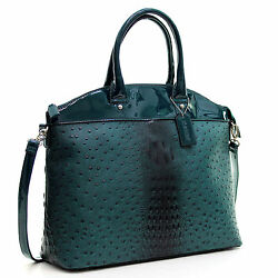 Dasein Womens Handbags Ostrich Faux Leather Tote Shoulder Bag Satchel Purse $29.99