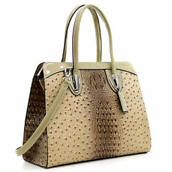 Dasein Women Ostrich Leather Top Handle Handbag Satchel Tote Purse Shoulder Bag $15.99