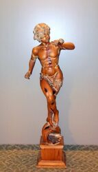 Fab Vtg Life Size Carved Wood Statue Sculpture Triton Youth 58 H. Neoclassical
