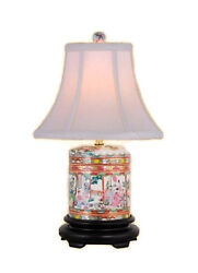 Chinese Porcelain Famille Rose Canton Round Ginger Jar Table Lamp 17