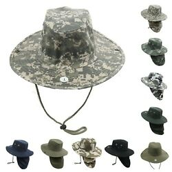 Hunting Fishing Hiking Garden Army Snap Brim Neck Cover Cowboy Summer Bonnie Cap $10.99