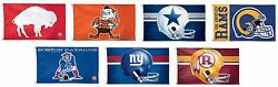 Brand New Nfl Assorted Teams Retro Logo 3' X 5' Deluxe Flag New
