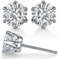 6prong Crown Forever One Moissanite Stud Earrings 14k Gold Candc Certified