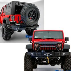 Front+rear Bumper+tire Carrier+winch Plate+d-ring For 07-18 Jeep Jk Wrangler