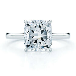 14k White Gold Cushion Cut Forever One Charles And Colvard Engagement Ring