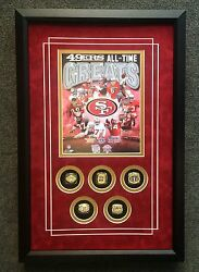 49ers Legends Framed Commemorative Replica Rings Montana Young Rice Lott