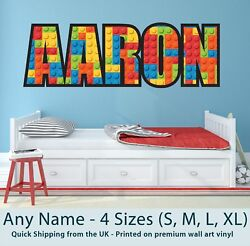 Childrens Name Wall Stickers Personalised Blocks Perfect For Boys Girls Bedroom