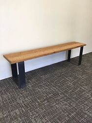 Hand Made Bench with Distressed Wood and Hot Rolled Steel