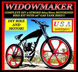 Complete Diy 2-stroke 66cc/80cc Motorized Bicycle Kit With 26 Gas Tank Bike