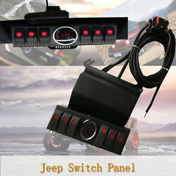 JEEP JK 07-16 6 Rocker Switch Control Panel Bracket LED Digital Voltage Meter