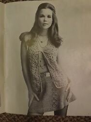 Vtg 1969 Crochet Patterns Book Womens Boho Gypsy Vests And Tops Hippy Sexy Plunge