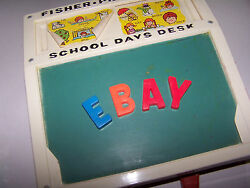 Vintage 1972 Fisher Price School Days Play Desk 176 - Magnetic Letters And Numbers