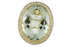 18k Yellow Gold Clasp Womenand039s Natural Green Amethyst Si Whtie Diamonds Ring 6.5