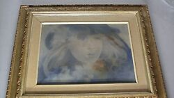 Oil Painting Signed French Artist Paris Madeleine Tailleur Title Blue Hat 1981