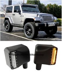 For 07-Up Jeep Wrangler JK Side Door Mirror Cover Yellow LED Turn Signal Light