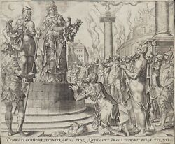 Original 1564 Antique Bible Engraving Judith And Holofernes First Ed Galle