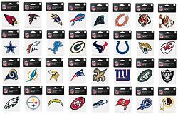 Nfl Assorted Football Teams 4 X 4 Colorful Team Logos Peel-off Decals New
