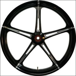 Eastern Black Polished Cut Sst 21 Front Wheel And Tire Harley 07-16 Flst W/ Abs