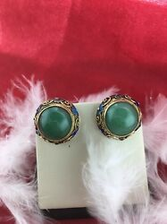 Vintage Chinese Jade Silver Filigree None Pierced Ears Earring With Enamels .