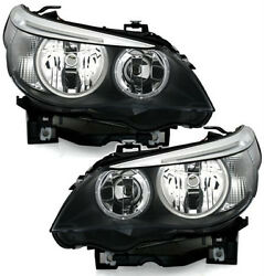Black Clear Finish Halogen H7 Headlight Set Pair For Bmw 5 Series E60 E61 03-07