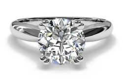 2.00ct Forever One Round Def Moissanite Double Prong 14k Or 18k White Gold Ring