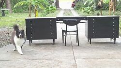 Ebony Black And White Dressers By American Of Martinsville Refinished W/ Vanity