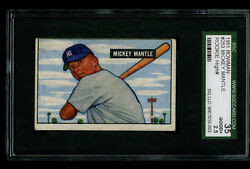 1951 Bowman MICKEY MANTLE Rookie RC Yankees HOF #253 SGC 2.5